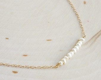 White Freshwater Pearl Beaded Bar Necklace