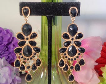 25% off with Coupon Code 70417 Vintage Black Acrylic Rhinestone Pierced Chandelier Pierced Earrings Set in Goldtone. Very Long & Dramatic.