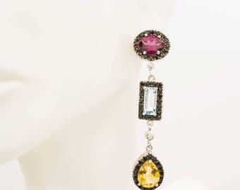 Multi Color Gemstone Earring With Diamonds