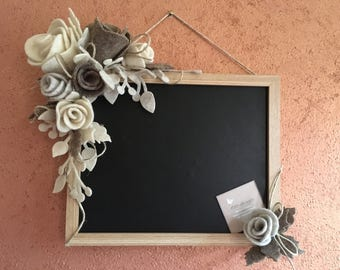 Blackboard with felt roses