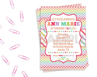 Rainbow Birthday Party Invitation, Colorful Birthday Party Invitation, Printable Rainbow Invitation, Printable Colorful Invitation