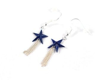 Origami, blue stars, Origami earrings Japanese paper