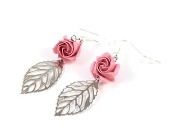 Origami - Rose - leaf filigree earrings - Japanese paper