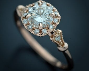 Moissanite Engagement ring with cushion halo 1ct, .70ct, .40ct, .33ct Forever One Charles & Colvard