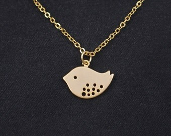 bird necklace, gold bird charm, dainty necklace, gold necklace, charm necklace, delicate necklace, bird jewelry, Mother's day, mama bird