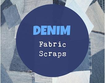 Denim Fabric Scraps, Denim Scrap Bundle, Blue Denim Fabric, 4 ounces, ~1/4 yard