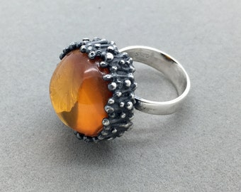 Vintage Einer Fehrn Sterling Silver Amber Modernist Ring, Danish Silver Ring, Scandinavian Silver, Brutalist, Retro