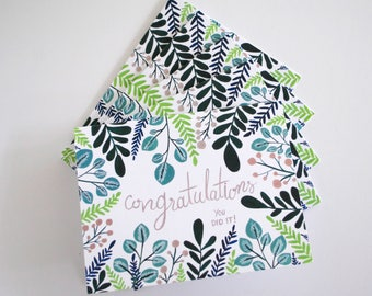 Congratulations flora greeting cards - hand painted set of five 5.5 x 4