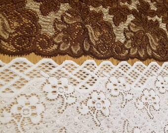 Stunning vintage elasticated lace trim wide lace trim White and brown elastic lace trim 1m each. Made in France