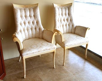 Pair Louie XV Chairs French Provencial Painted Wood Frame