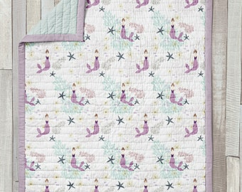 Wholecloth Quilt / Baby Blanket / Mini Quilt / Toddler Quilt / Laguna Collection by Fabricology / Mermaid Print / Mint / Baby Girl Nursery
