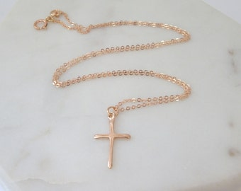 Rose gold cross Etsy