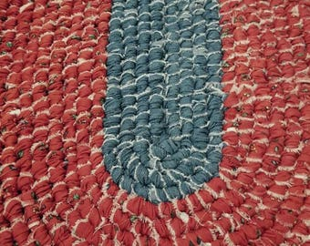 Handmade Oval Rag Rug - Denim Blue  With Coordinating Denim  Red Print with Green Flowers - Country - Kitchen, Entry, Bedroom, Bathroom