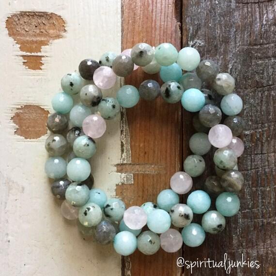 Stackable Reiki Love Infused Amazonite, Sesame Jasper, Labradorite + Rose Quartz Spiritual Junkies Yoga and Meditation Bracelet (1 bracelet)