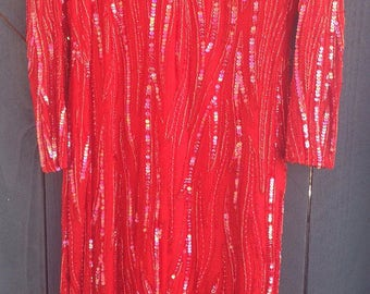 FREE SHIPPING Vintage red fully beaded dress