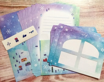 Winter Village Letter Set with Window Envelopes
