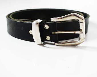 Vintage Original Handmade Mens Real Leather Belt Black