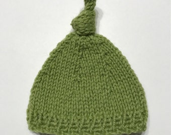 knitted green knot beanie