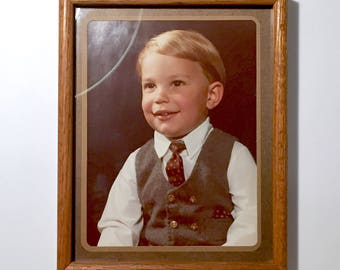 """Vintage 1980's 12x15"""" Wooden Wall Hanging Photo Picture Frame with Mat - Fits Photo 9x12"""""""