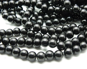100 8 mm no Pearly opaque black glass beads