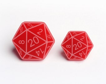 D20 Pin - 20-Sided Dice Dungeons And Dragons Tabletop Gaming Pin Badge - D20 Lapel Pin - Red Two Pack (PIN0002)