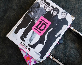 1D - One Direction bag - Upcycled book - Handmade - Handbag made from a book