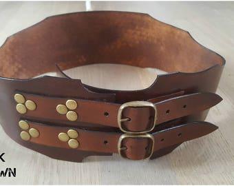 Wide Leather Belt Women's Brown Belt Baroque Belt Steampunk Belt Victorian Fantasy Cosplay Belt Vintage Belt Wide Belt Baroque Leather Belt