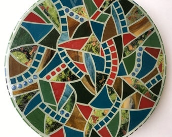 Handmade Mosaic Lazy Susan | Glazed Glass | One-of-a-Kind | Gifts | Exclusive Design | Tabletop Decor | Entertaining | Contemporary
