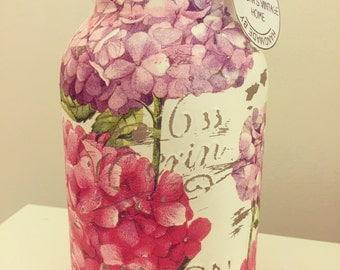 Hand made hydrangea print Mason jar