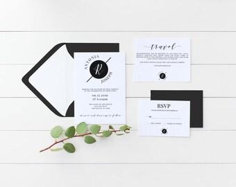 Black and White elegant wedding invitation, wedding invitation set, 5x7 wedding invite template, rsvp card, black and white wedding template