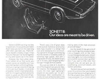SAAB Sonett III Poster Size Ad