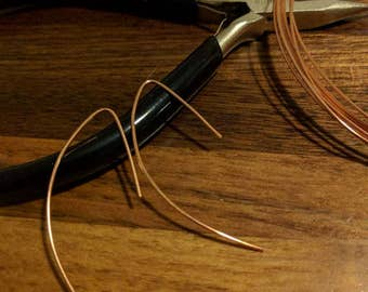 Simple Copper Loop Threader Earrings