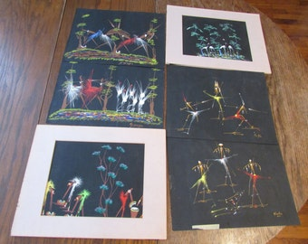 6 Abstract Paintings on Paper Signed Koko  and  Okabet