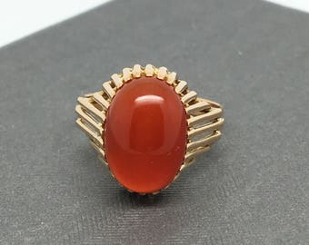 18K Yellow Gold Orange Red Stone Ring