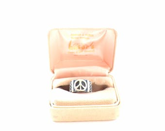 Vintage Taxco Peace Sign Ring, 1970s, Hippie Boho Jewlery, Sterling Sliver