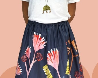 Mauve Protea cotton skirt