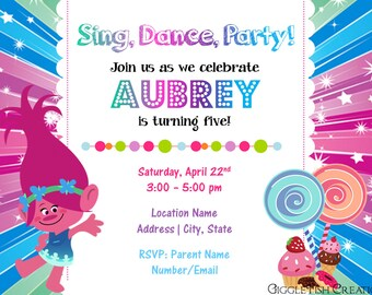 Candy Shop Birthday Party Invitation Featuring Poppy Troll | Digital File