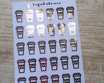 Rose Gold Foiled Coffee Stickers - Planner Stickers