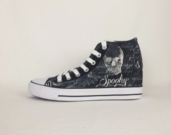 Black bird, crow, goth shoes, skulls shoes, women shoes, alternative, women shoes, nu goth, grunge, creepy cute, custom high tops, trainers