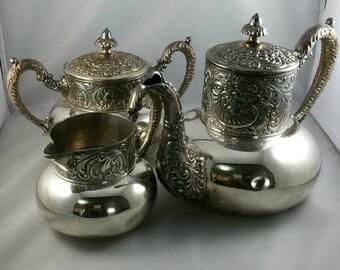 Antique Imperial Silverware Tea Set, Triple Plated Silver Teapot, Creamer, And Sugar Bowl