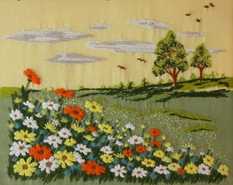 Gorgeous Vintage Embroidery of Summer Flowers in the Countryside.  (5127s)