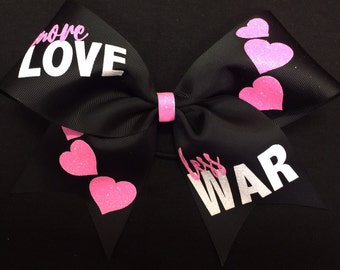 Valentine's Day Bow - More LOVE less WAR Cheer Bow - Black and hot pink bow - Great for cheer practice - cheerleader bow