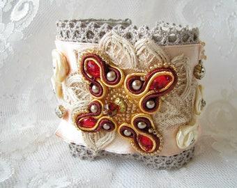 Cuff bracelet Wide bracelet Beaded bracelet Ivory bracelet