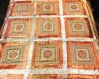 Vintage velvet and mirror work bedcover, Velvet Bedcover, Bedding, Throws, Blanket