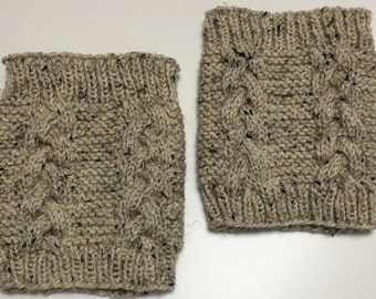 Boot Toppers, Boot Cuffs, Ankle Warmers, Oatmeal, Handknit