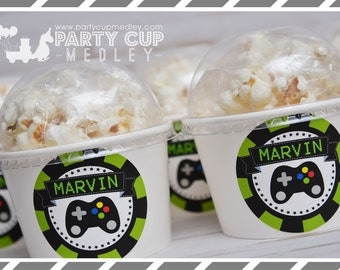 Video Gamer Birthday Party-Treat Cups-Video Gamer Popcorn Cups