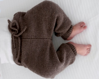Knit Baby Pants - Organic Wool Leggings - Boy or Girl- Perfect for cold weather - Ready to ship - Sizes available :0-18 months