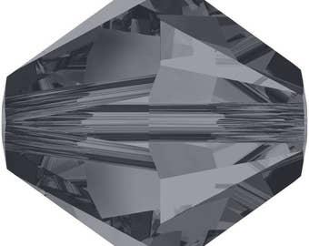 Swarovski Crystal Bicone Beads 5328 - 3mm 4mm 5mm 6mm 8mm - Crystal Silver Night