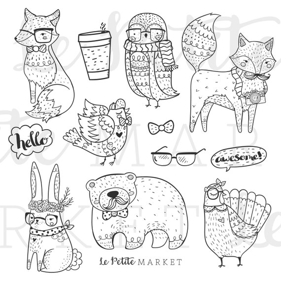 89+ [ Hipster Animals Coloring Book ] Hipster Poster With Cute Cartoon Chinchilla In Glasses ...