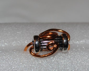 Copper and Antique Silver Bead Ring